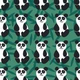 Bezszwowy wektoru wzór z życzliwymi pandami na zielonym tle ilustracji