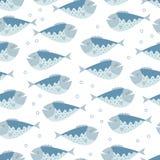 Bezszwowy wektoru wzór z błękitnymi ryba Obraz Stock