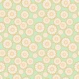 Bezszwowy wektoru wzór z białymi stokrotkami na zielonym tle, Fotografia Stock