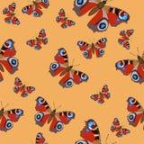 Bezszwowy wektoru wzór z Burgundy motylami na pomarańczowym tle Wz?r dla tkanin, papierowy pakowa?, projekta element ilustracja wektor