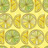 Bezszwowy wektoru wzór z cytryną i wapnem Obraz Royalty Free