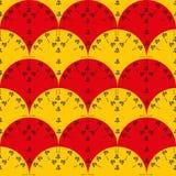 Bezszwowy wektoru wzór z czerwienią i kolorem żółtym wachluje z czarnym kwiecistym drukiem ilustracja wektor