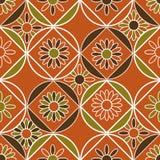 Bezszwowy wektoru wzór z geometrycznymi płytkami dekorował z kwiecistymi motywami ilustracji