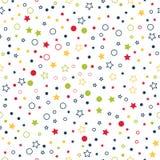 Bezszwowy wektoru wzór z gwiazdami, okręgami i kropkami na białym tle multicolor, royalty ilustracja
