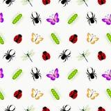 Bezszwowy wektoru wzór z insektami, śliczny kolorowy tło z pająkami, biedronki, gąsienicy i motyle, Zdjęcia Stock
