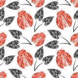 Bezszwowy wektoru wzór z insektami, chaotyczny tło z jaskrawymi dekoracyjnymi czerwonymi zbliżenie biedronkami i czarni liście, Obrazy Stock