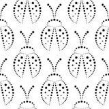 Bezszwowy wektoru wzór z insektami na białym backd, symetryczny czarny i biały tło z dekoracyjnymi zbliżenie biedronkami, ilustracji
