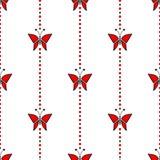 Bezszwowy wektoru wzór z insektami, symetryczny geometryczny czerwony tło z motylami ilustracji