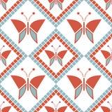 Bezszwowy wektoru wzór z insektami, symetryczny geometryczny czerwony tło z motylami Dekoracyjny wielostrzałowy ornament royalty ilustracja