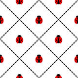 Bezszwowy wektoru wzór z insektami, symetryczny geometryczny tło z jaskrawymi małymi biedronkami nad białym tłem, Obraz Royalty Free