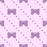 Bezszwowy wektoru wzór z insektami, symetryczny tło z fiołkowymi motylami i kropki na różowym tle, ilustracji