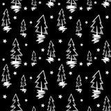 Bezszwowy wektoru wzór z jedlinowymi drzewami Obraz Royalty Free