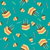 Bezszwowy wektoru wzór z kawałkami tort Obrazy Stock