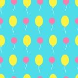 Bezszwowy wektoru wzór z kolorowymi balonami w niebie Dla ca Obrazy Royalty Free