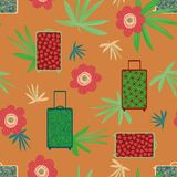 Bezszwowy wektoru wzór z kolorowymi walizkami, tropikalnymi kwiaty i liście ilustracji