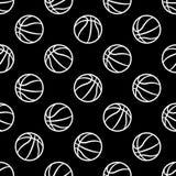 Bezszwowy wektoru wzór z koszykówek piłkami royalty ilustracja