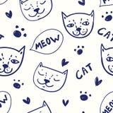 Bezszwowy wektoru wzór z kotami w nakreślenia doodle stylu Zdjęcie Royalty Free