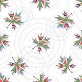 Bezszwowy wektoru wzór z liśćmi klonowymi i okręgami na wodzie Obraz Stock