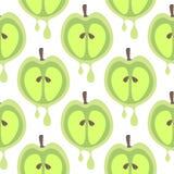 Bezszwowy wektoru wzór z owoc Symetryczny tło z zbliżenie zieleni jabłkami na białym tle Obraz Stock
