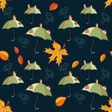 Bezszwowy wektoru wzór z parasolami i miastami na one, opuszcza i chmurnieje Obraz Stock