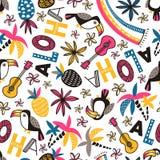 Bezszwowy wektoru wzór z pieprzojadami i ornamentacyjny zwrota ` ` na białym tle ALOHA ilustracji