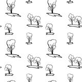 Bezszwowy wektoru wzór z powtórkowymi drzewami Zdjęcia Stock