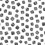 Bezszwowy wektoru wzór z prostymi czarnymi kwiatami Zdjęcie Stock
