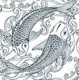 Bezszwowy wektoru wzór z ręka rysującą Koi ryba, fala (Japoński karp) Obraz Stock