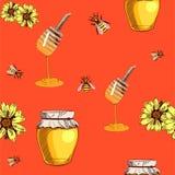 Bezszwowy wektoru wzór z ręka rysującym miodem na pomarańczowoczerwonym Obraz Royalty Free