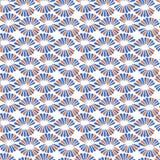 Bezszwowy wektoru wzór z retro czerwienią i błękitem kwitnie ilustracja wektor