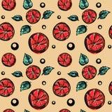 Bezszwowy wektoru wzór z stylizowanymi grapefruitowymi kawałkami i zielonymi nowymi liśćmi Obrazy Royalty Free