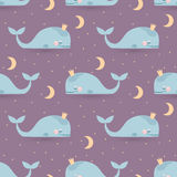 Bezszwowy wektoru wzór z sypialnymi wielorybami, księżyc & gwiazdami, Dobry Obrazy Stock