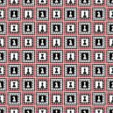 Bezszwowy wektoru wzór z szachowymi kawałkami Dekoracyjny wielostrzałowy czerń, biel i czerwony ornament, Fotografia Royalty Free
