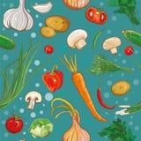 bezszwowy wektoru wzór z warzywami Fotografia Stock