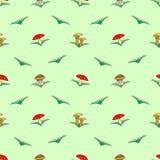 Bezszwowy wektoru wzór z warzywami, symetryczny tło z pieczarkami i trawa: komarnicy bedłka, chanterelle i porcini mush, ilustracji