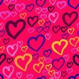 Bezszwowy wektoru wzór z wielostrzałowymi sercami różny kolor na różowym tle Ten romantyczna tekstura był ilustracji