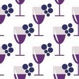 Bezszwowy wektoru wzór z zbliżeń wineglasses z czerwonym winem i wiązkami winogrono na białym tle Zdjęcia Royalty Free
