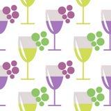 Bezszwowy wektoru wzór z zbliżeń wineglasses z winem, wiązki winogrono na popielatym tle, i Obraz Royalty Free