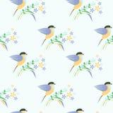 Bezszwowy wektoru wzór z zwierzętami Symetryczny tło z kolorowymi ptakami, liśćmi i kwiatami na lekkim tle, royalty ilustracja