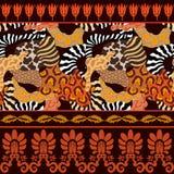 Bezszwowy wektoru wzór z zwierzęcymi drukami Zdjęcie Stock