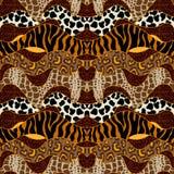 Bezszwowy wektoru wzór z zwierzęcymi drukami Obrazy Royalty Free