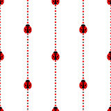 Bezszwowy wektoru wzór z insektami, symetryczny geometryczny tło z jaskrawymi małymi biedronkami nad białym tłem, Zdjęcie Stock