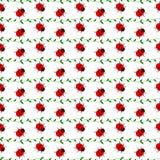 Bezszwowy wektoru wzór z insektami, symetryczny tło z jaskrawymi małymi biedronkami i gałąź z liśćmi na białych półdupkach, Zdjęcie Royalty Free