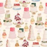 Bezszwowy wektoru wzór z różnymi ślubnymi tortami w rocznika stylu na lekkim tle Zdjęcia Royalty Free