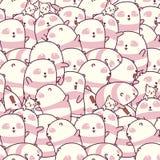 Bezszwowy wiele pand i kotów wzór ilustracja wektor