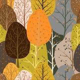 Bezszwowy wielostrzałowy abstrakcjonistyczny tło abstrakcjonistyczni drzewa ilustracja wektor