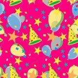 Bezszwowy wielostrzałowy wzór balony, nakrętki, confetti ilustracja wektor
