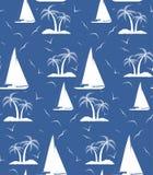 Bezszwowy wielostrzałowy wzór drzewka palmowe i żeglowanie statki Vec ilustracji