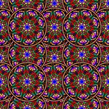 Bezszwowy wielostrzałowy wzór barwioni mandalas Zdjęcia Royalty Free