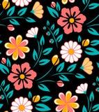 Bezszwowy wiosna kwiatu wzór na czarnym tle Obraz Royalty Free
